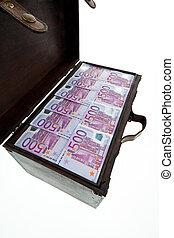 poitrine, à, euro, billets banque., financier, crise, crise, formation