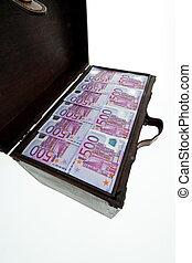 poitrine, à, euro, billets banque., financier, crise, crise, shu