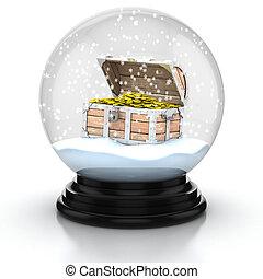 poitrine, dans, neige, ouvert, trésor