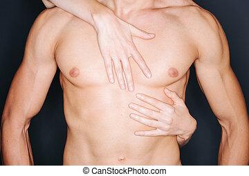 poitrine, femme, mains, homme