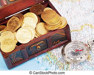 poitrine, trésor, compas