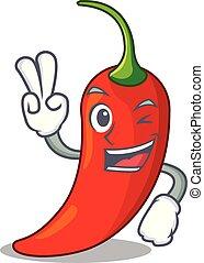 poivre, assaisonnement, caractère, deux, nourriture, doigt, piment, rouges