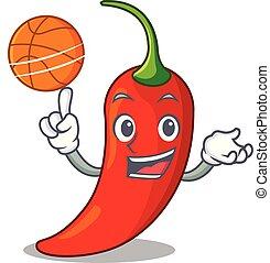 poivre, basket-ball, naturel, piment chaud, dessin animé, rouges