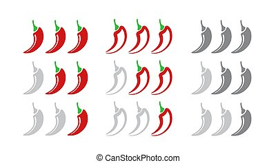 poivre, ensemble, positions, doux, isolé, blanc, arrière-plan., chaud, voyante, indicateur, scale., force, rouges, icône