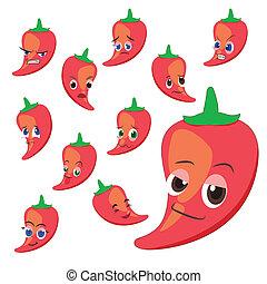 poivre, expressions, chaud, dessin animé