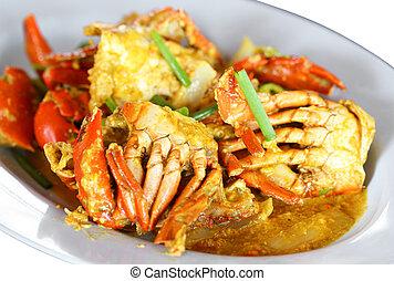 poivre, frit, crabe, curry, ail, remué, powder.