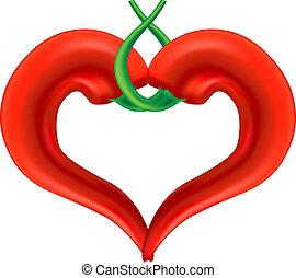 poivre, heart., amour, symbole., isolé, arrière-plan., passion, vecteur, eps10, piment, blanc