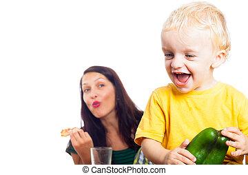 poivre, heureux, vert, enfant