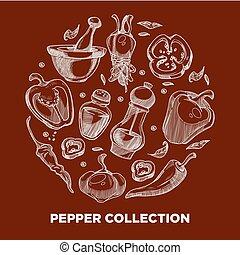 poivre, ingrédients, légumes, cuisant épice, condiment, ou,...