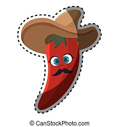 poivre, mexicain, autocollant, piment chaud, chapeau, dessin animé, rouges
