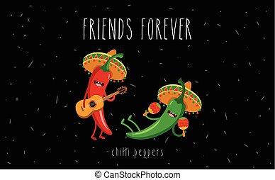 poivre, mexicain, caractère, dessin animé, guitare, piment vert, chapeau, jouer