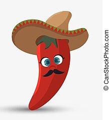 poivre, mexicain, isolé, conception, piment, chapeau, dessin...