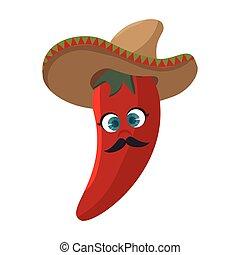 poivre, mexicain, piment chaud, chapeau, dessin animé, rouges