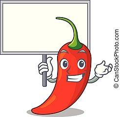 poivre, naturel, apporter, chaud, planche, piment, dessin animé, rouges