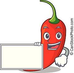 poivre, naturel, chaud, planche, piment, dessin animé, rouges