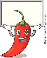 poivre, naturel, haut, chaud, planche, piment, dessin animé, rouges