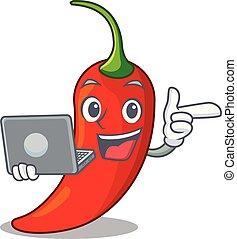 poivre, naturel, ordinateur portable, piment chaud, dessin animé, rouges