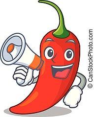 poivre, naturel, piment chaud, porte voix, dessin animé, rouges