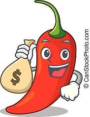 poivre, naturel, sac argent, piment chaud, dessin animé, rouges