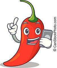 poivre, naturel, téléphone, piment chaud, dessin animé, rouges