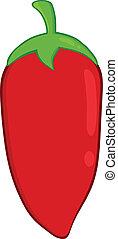 poivre piment, illustration, rouges