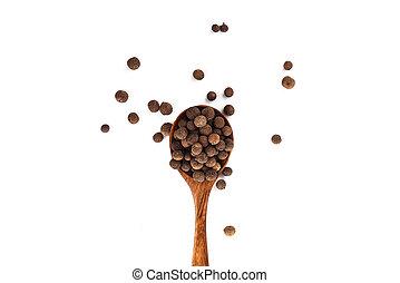 poivre, quatre-épices, cloche, sommet bois, isolé, arrière-plan., cuillère, jamaïquain, pepper., blanc, vue