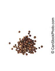 poivre, quatre-épices, cloche, sommet, isolé, arrière-plan., jamaïquain, pepper., blanc, vue