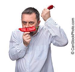 poivre, rouges, homme