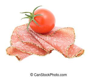 poivre, salami, saucisse, à, tomato.