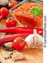 poivre, sauce, piment chaud, rouges