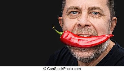 poivre, sien, personnes agées, bouche, rouges, homme