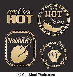 poivre, supplémentaire, labels., habanero, piment chaud