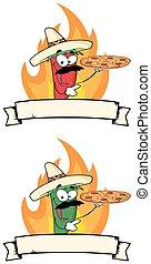 poivre, tient, haut, chili, bannière, pizza