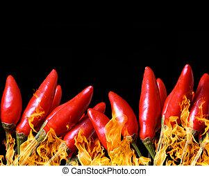 poivres, brûler chaud, piment, rouges
