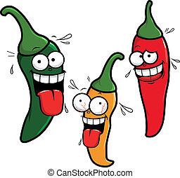 poivres, piment chaud, dessin animé