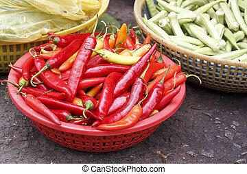 poivres, piment chaud, rouges