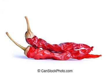 poivres, piment chaud, rouges, séché
