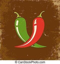 poivres, piment, deux