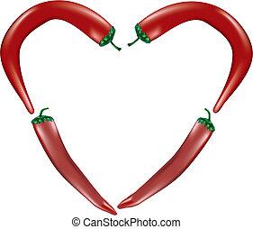 poivres, piment, forme coeur
