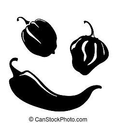 poivres, piment, silhouettes
