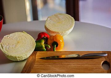poivres, table, couleurs, trois, cuisine