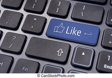 pojęcia, podobny, media, klawiatura, guzik, towarzyski, wiadomość