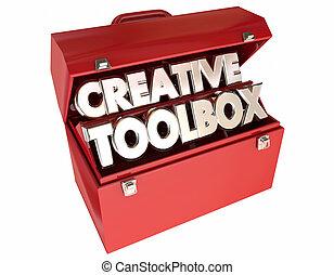 pojęcia, twórczy, wyobraźnia, słówko, skrzynka na narzędzia, 3d, natchnienie