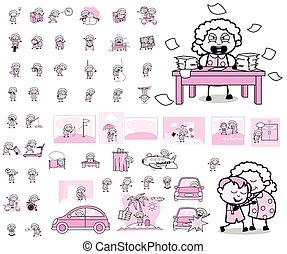 pojęcia, wektor, babunia, ilustracje, litera, -, stary, różny, rysunek