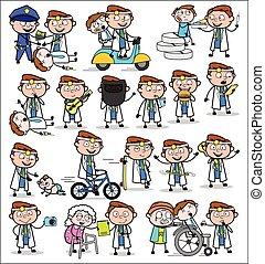 pojęcia, wektor, ilustracje, -, doktor, komplet, różny, komik