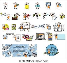 pojęcia, wektor, ilustracje, -, komplet, różny, rysunek, złodziej