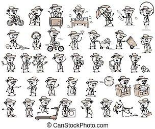pojęcia, wektor, ilustracje, -, rocznik wina, detektyw, różny, przedstawiciel, komik
