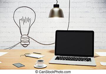 pojęcie, ściana, laptop, idea, do góry, inny, stół, cegła, ...
