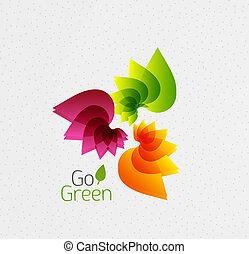 pojęcie, abstrakcyjny, kwiat, zielony, iść, design.