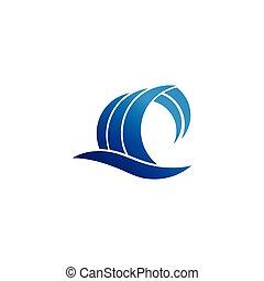 pojęcie, abstrakcyjny, woda, projektować, fale, logo